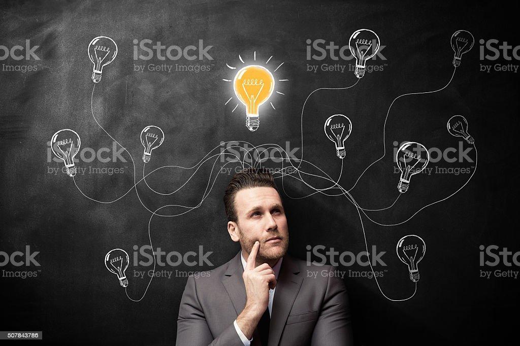 Thinking man new ideas stock photo