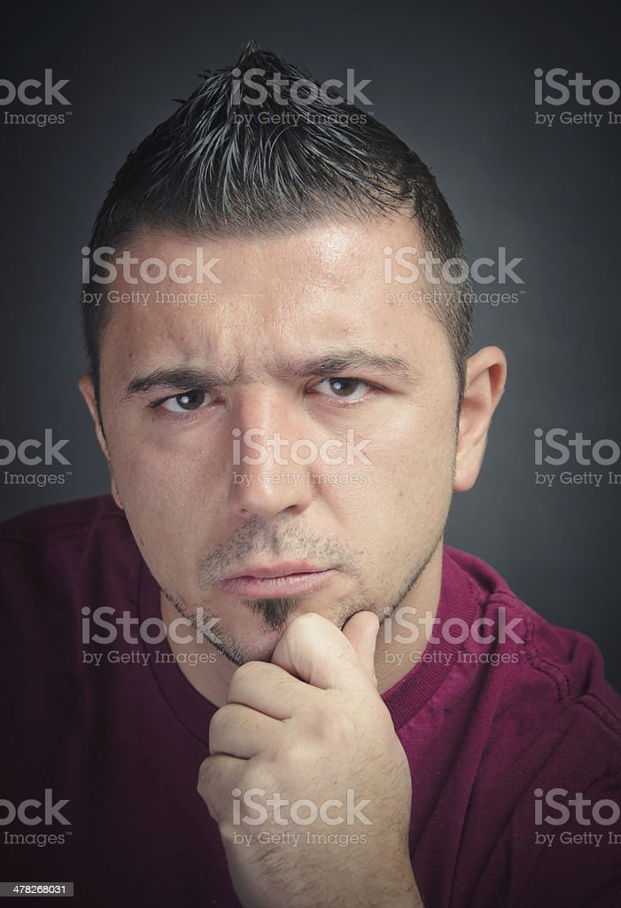 Thinking man portrait royalty-free stock photo