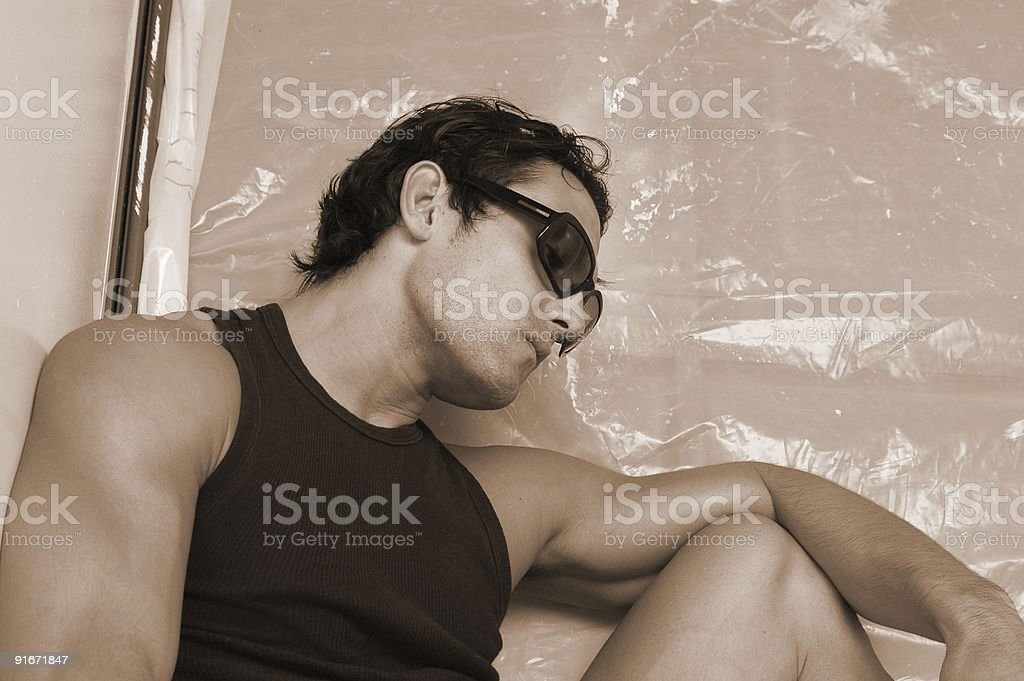 thinking man with glasses royalty-free stock photo