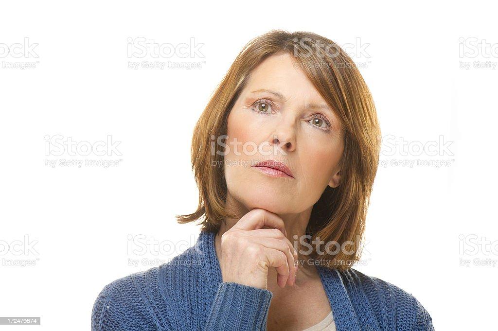 thinking mature woman royalty-free stock photo