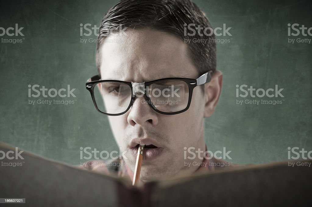 Thinking Nerd royalty-free stock photo