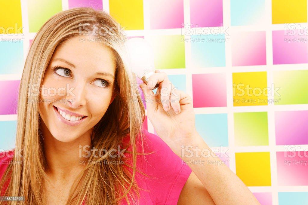 Thinking of Bright Ideas royalty-free stock photo