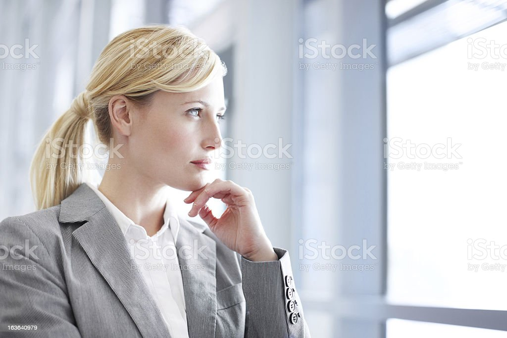Thinking of her business dreams royalty-free stock photo