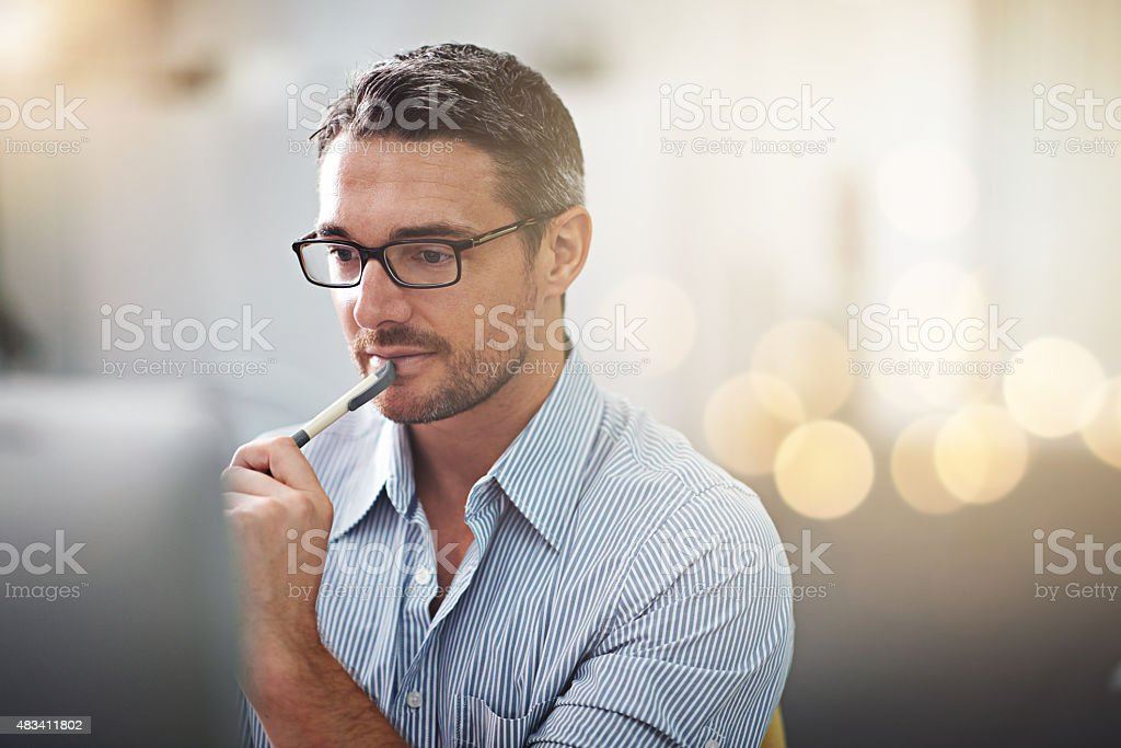 Thinking of new ideas stock photo