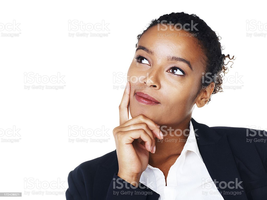 Thinking of ways to expand her venture royalty-free stock photo