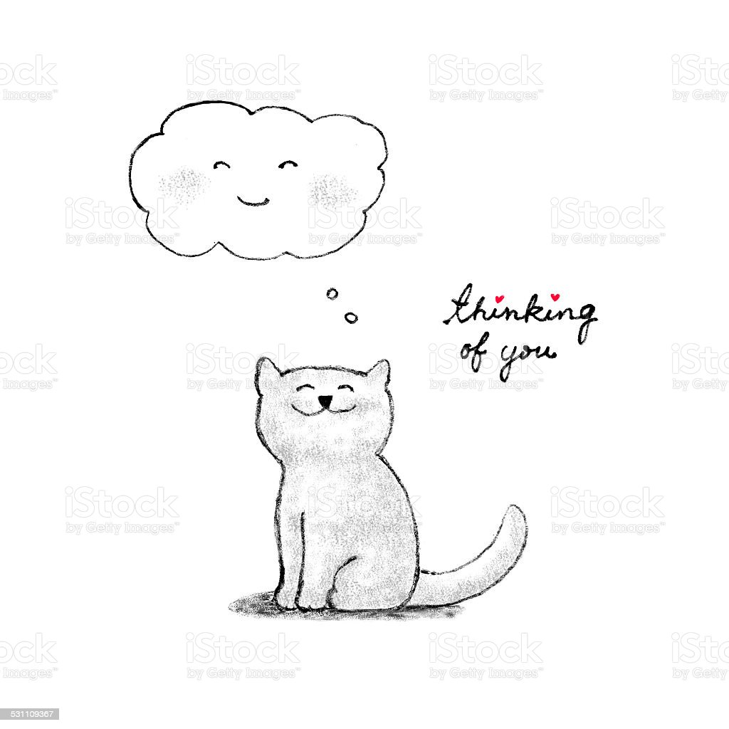Thinking of you cat drawing stock photo