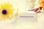 Thinking of you message with table setting
