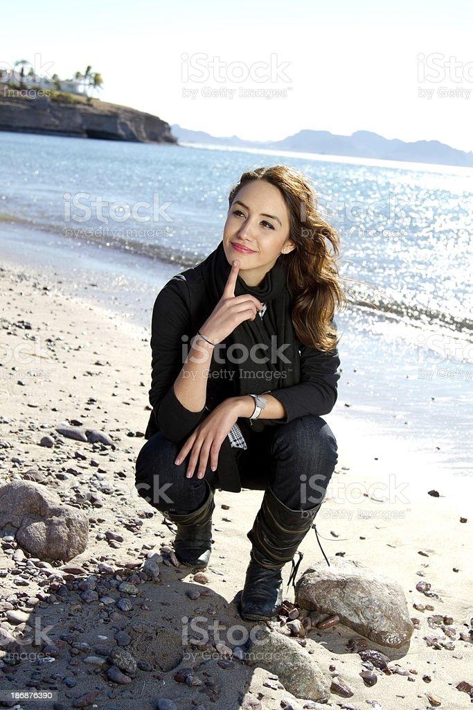 Thinking on the beach stock photo