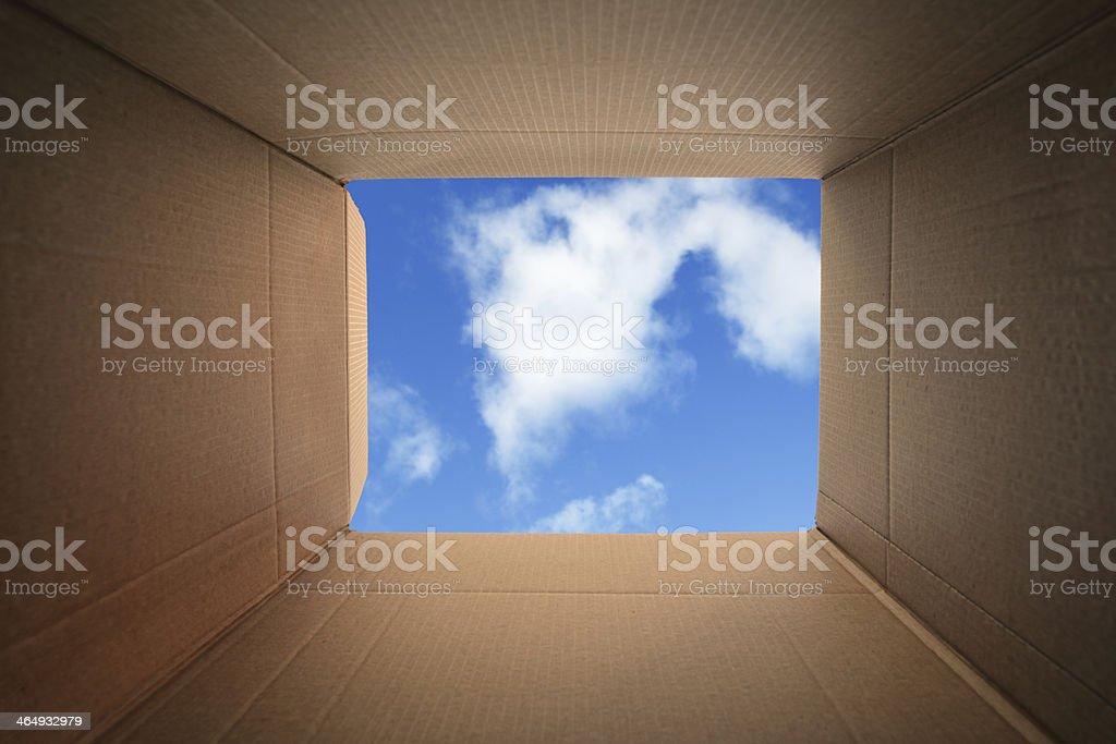 Thinking outside the box stock photo