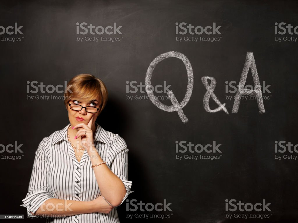 Thinking over the Questions and Answers on a Blackboard royalty-free stock photo