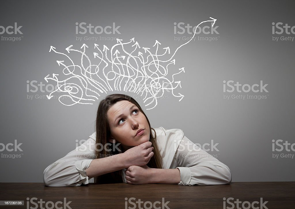 Thinking vector art illustration