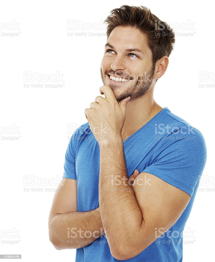 Thinking positive thoughts stock photo