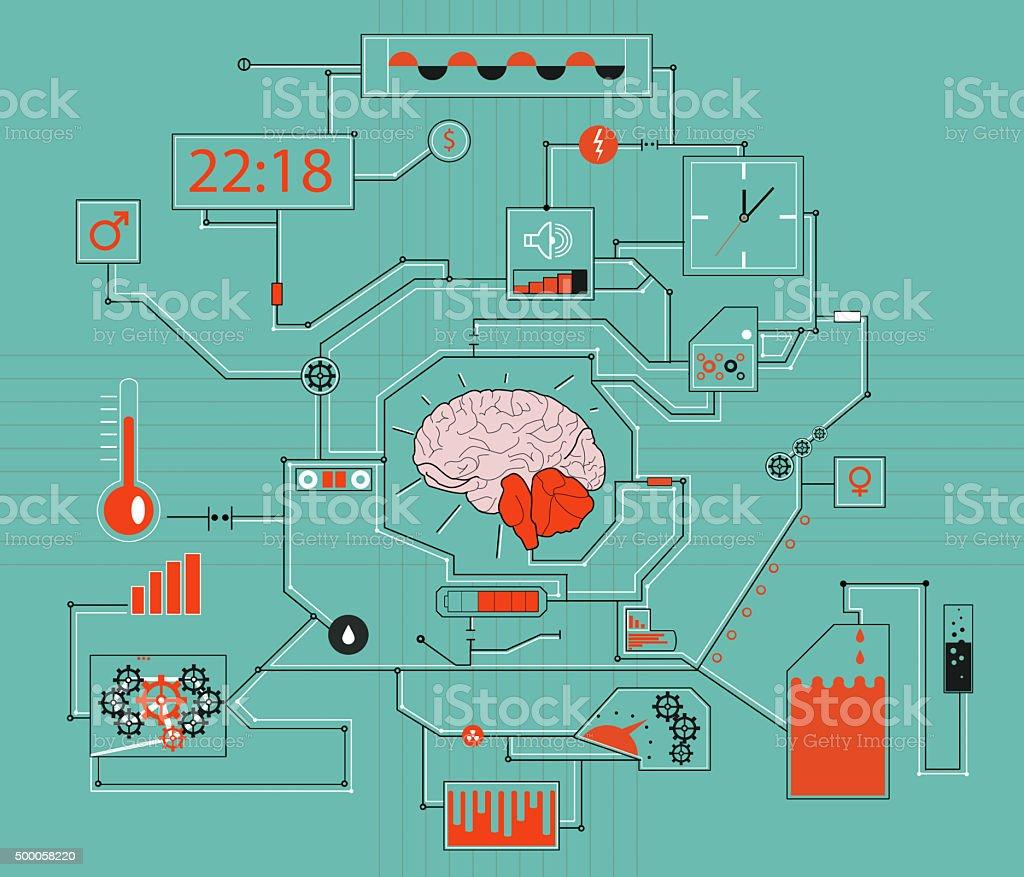 Thinking process of human brain concept stock photo