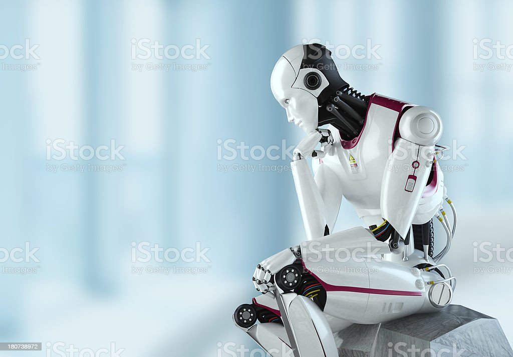 Thinking Robot light environment royalty-free stock photo