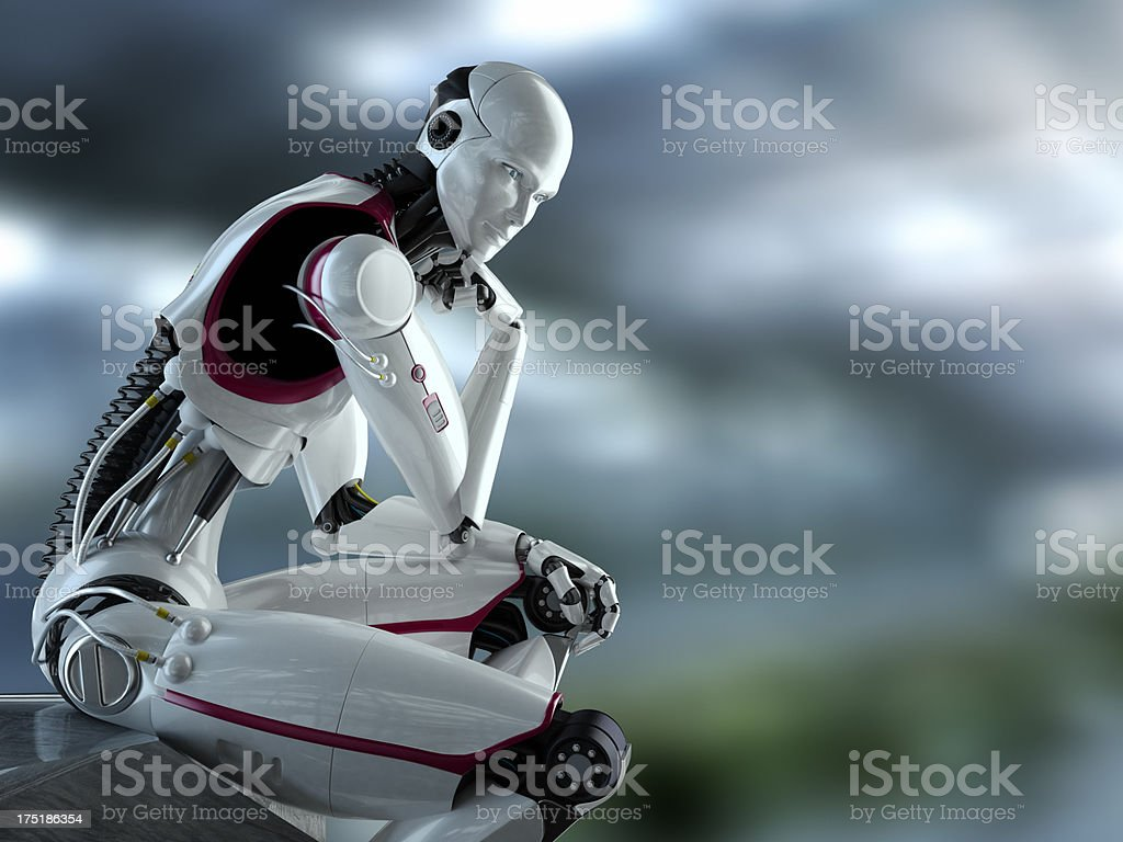Thinking Robot stock photo