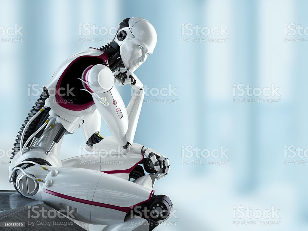3D thinking robot with light background stock photo