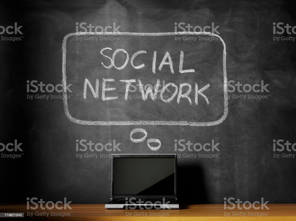 Thinking Social Network on a Blackboard royalty-free stock photo