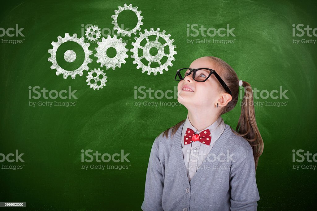 Thinking student with brainstorming stock photo