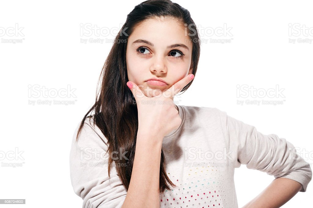 Thinking Teenage Girl stock photo
