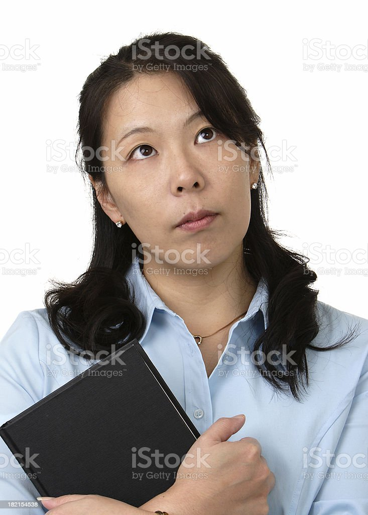 Thinking with book stock photo