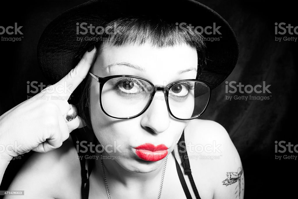 thinking woman and she's glasses royalty-free stock photo