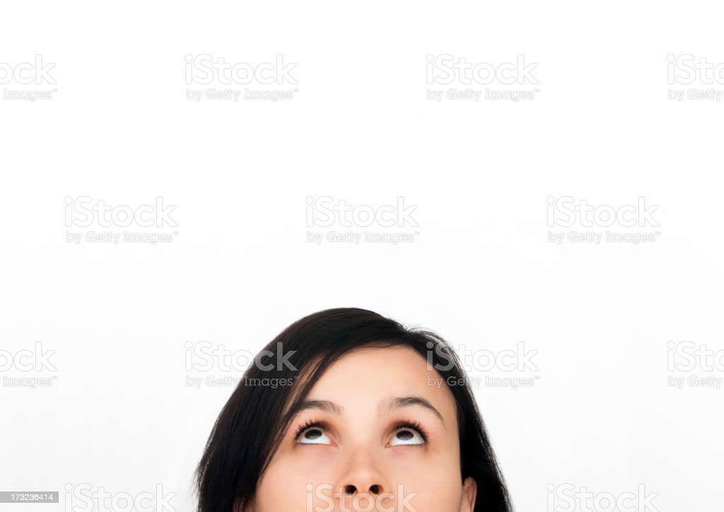 Thinking woman in front of whiteboard royalty-free stock photo