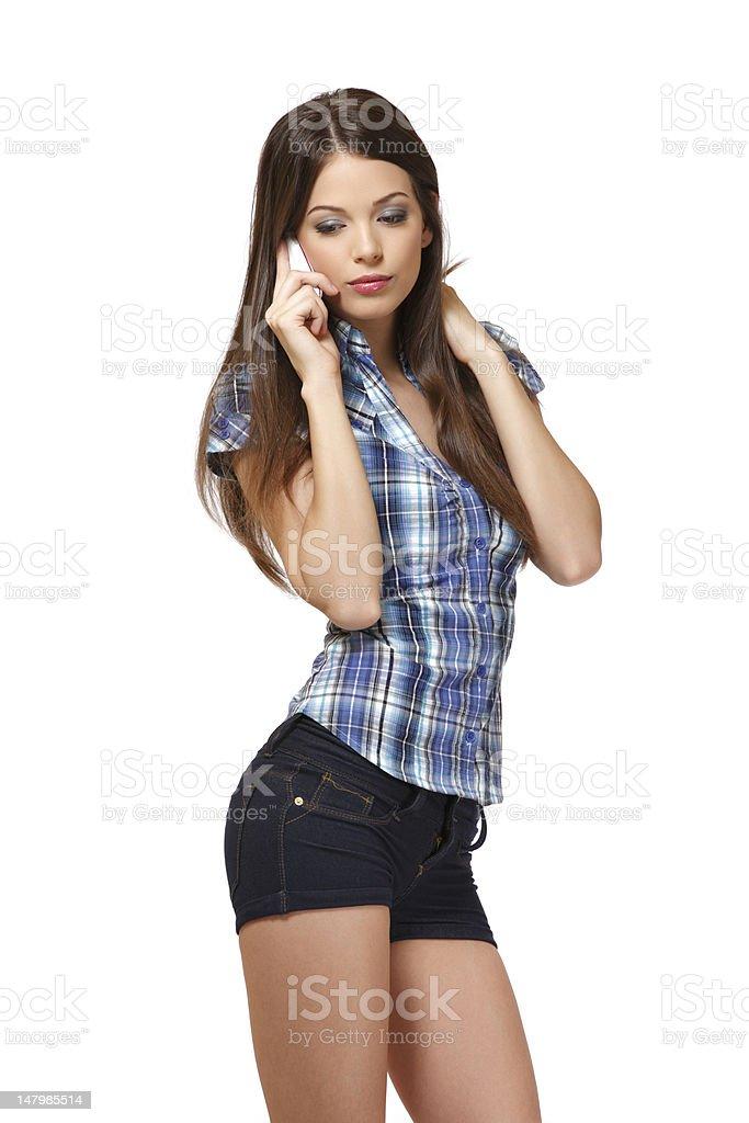 thinking woman making a call royalty-free stock photo