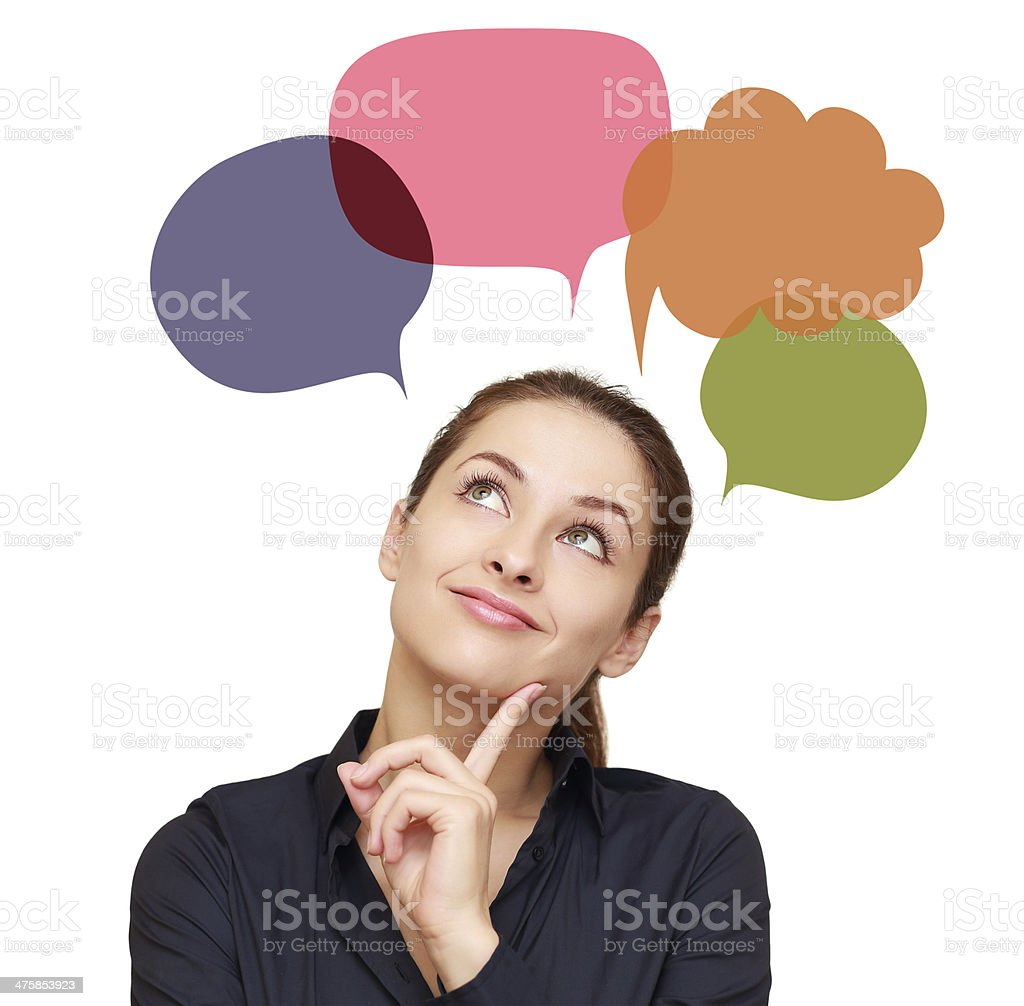 Thinking woman with many colorful chart bubbles above isolated stock photo
