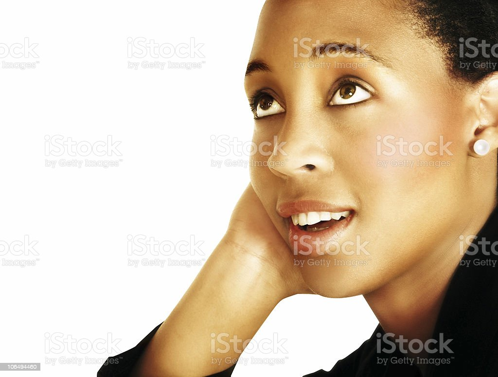 thinking young black woman royalty-free stock photo