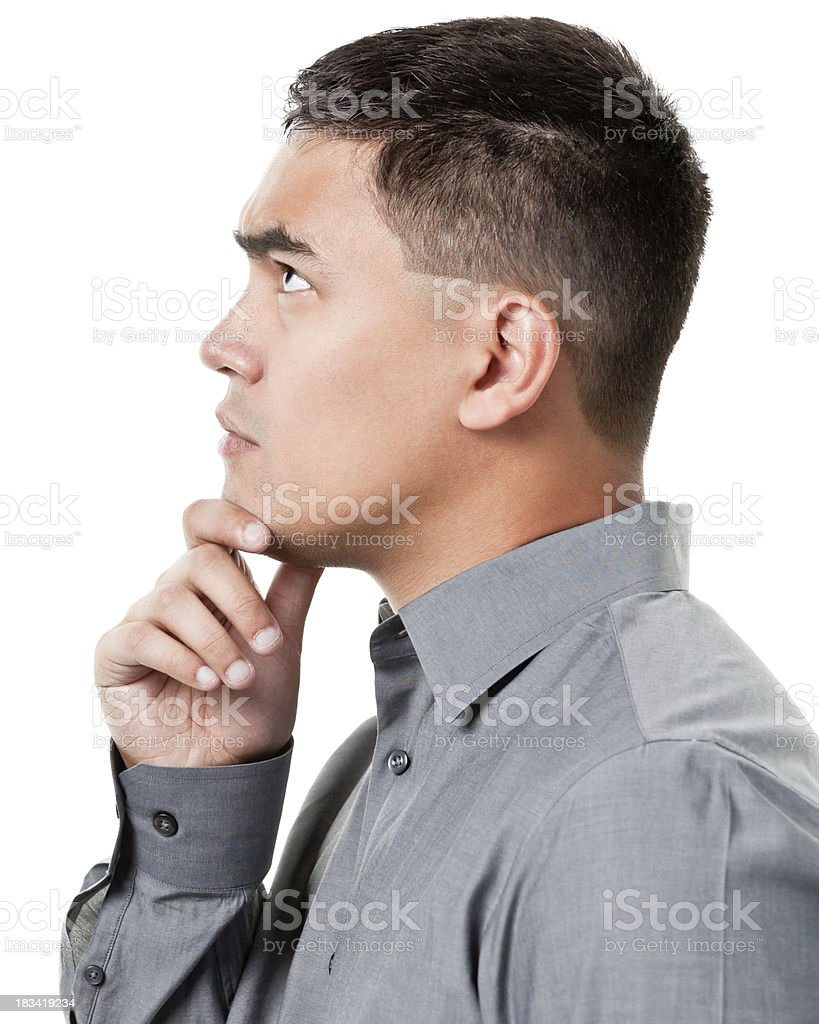 Thinking Young Man Looking Up, Profile Side View royalty-free stock photo