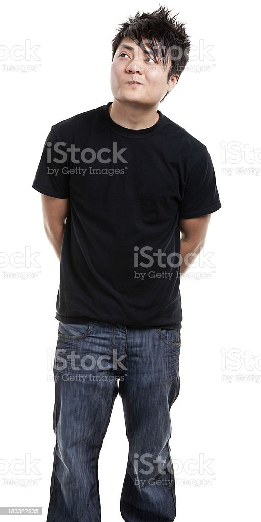 Thinking Young Man Looks Up royalty-free stock photo