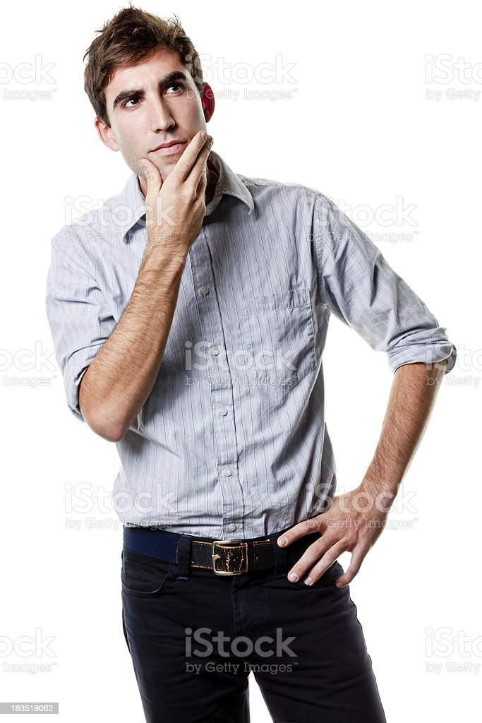 Thinking Young Man With Hand On Chin royalty-free stock photo