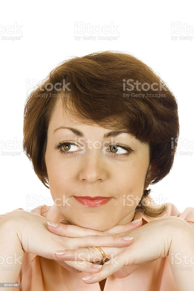 Thinking young woman isolated royalty-free stock photo