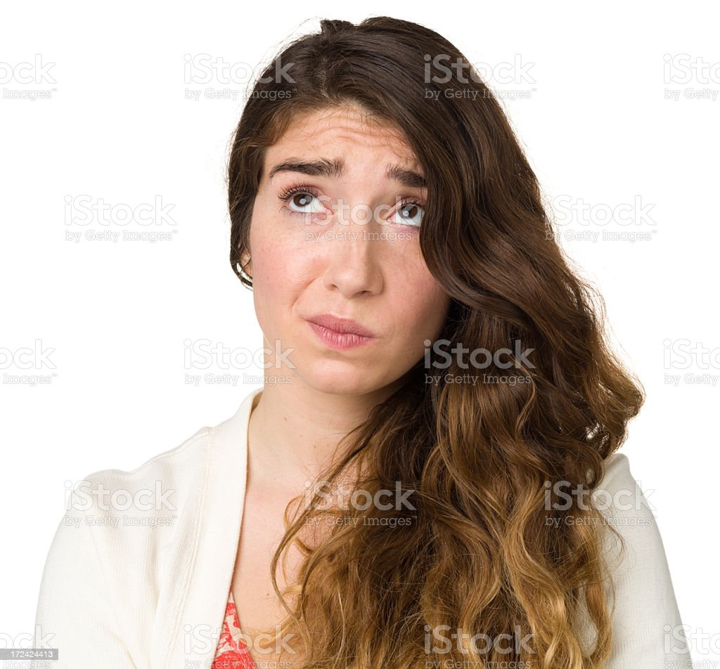 Thinking Young Woman Looking Up royalty-free stock photo