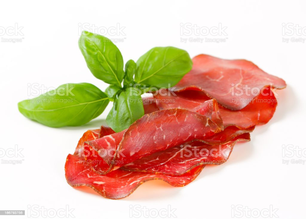 Thin-sliced marinated beef royalty-free stock photo