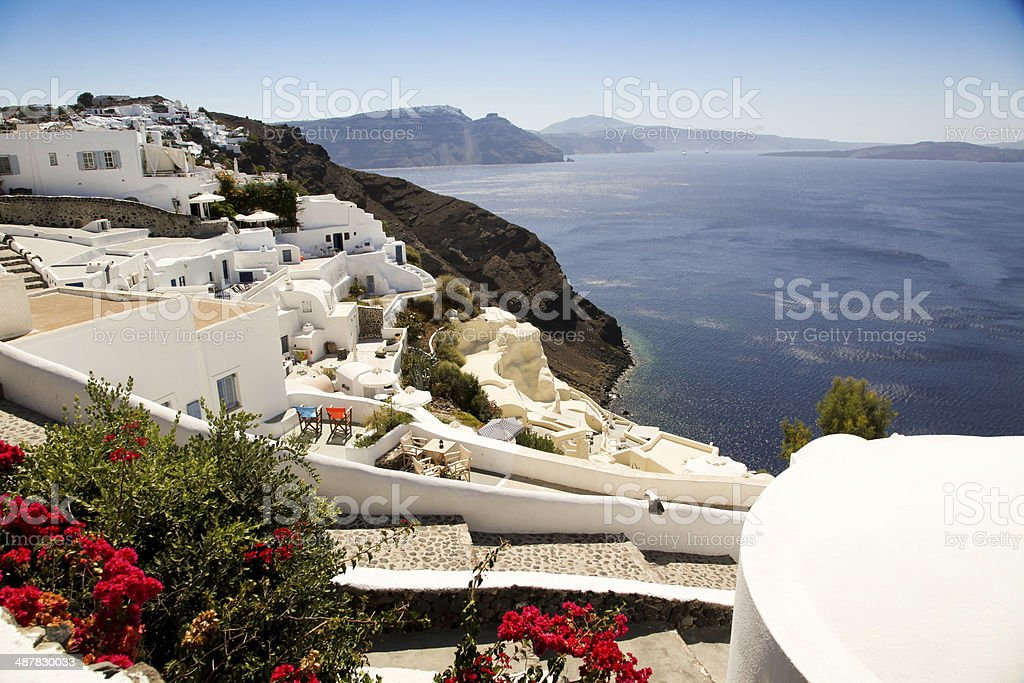 Thira Fira Perissa Oia Ammoudi Thirassia  Greece island cyclades stock photo