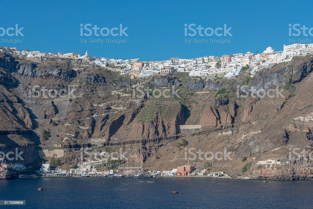 Thira on Santorini from Below stock photo