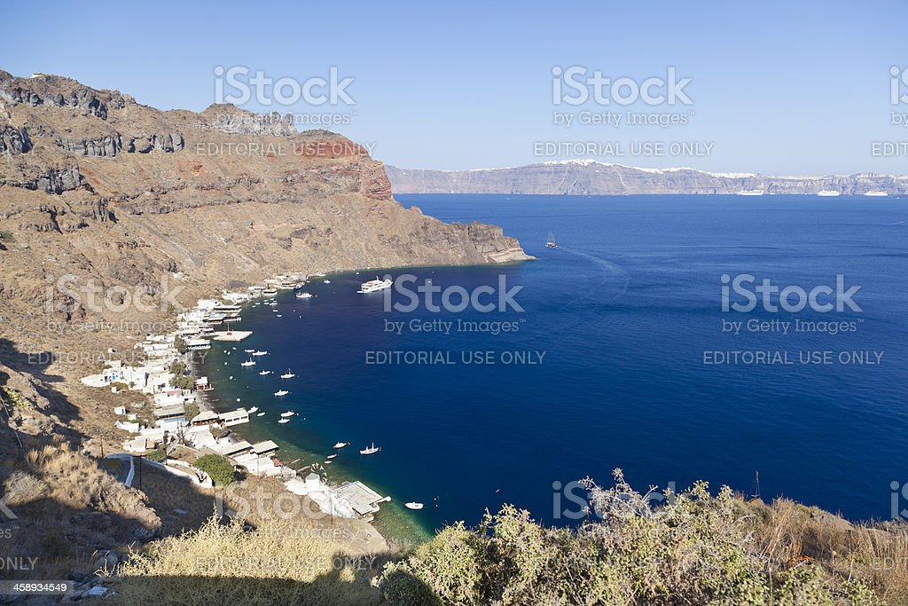 Thirasia Harbor, Santorini stock photo