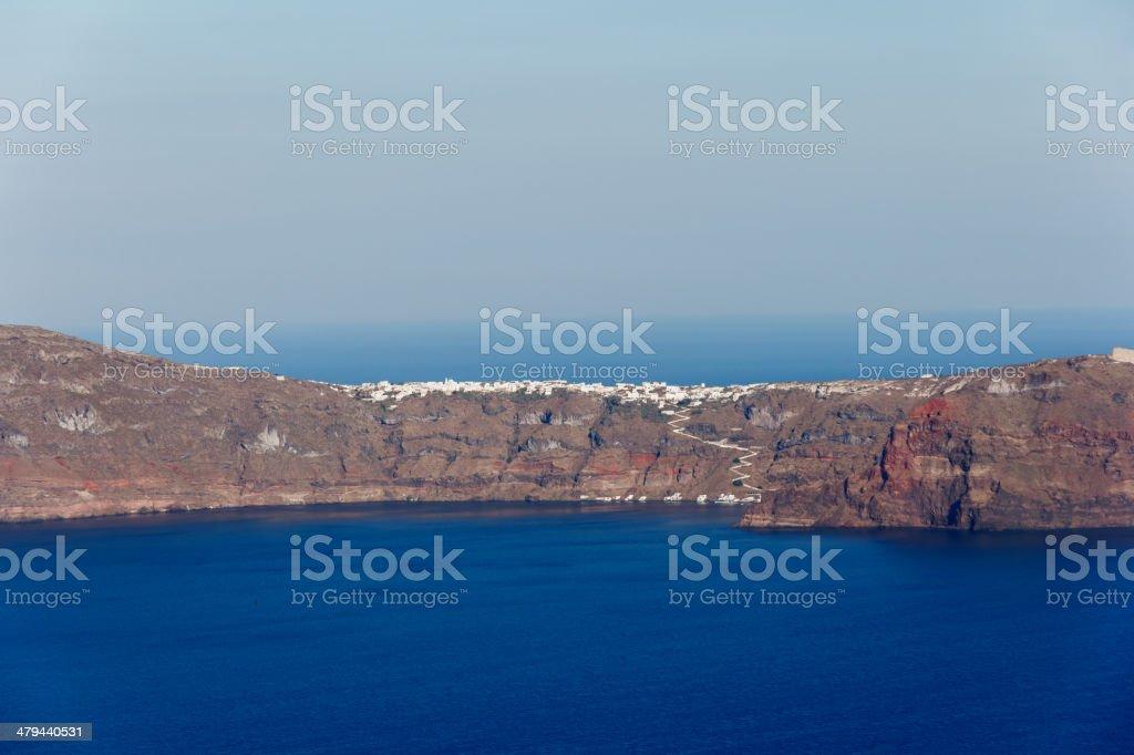 Thirasia island in Santorini stock photo