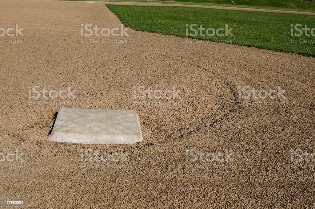 Third Base on a Baseball Field stock photo