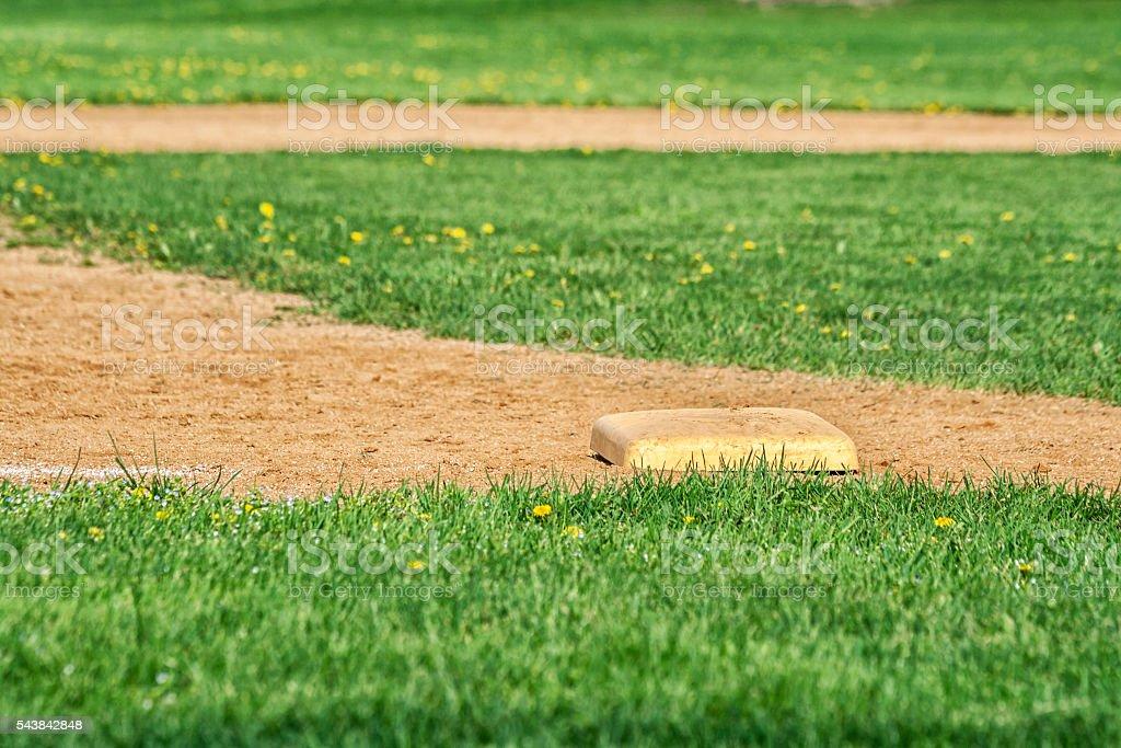 Third Base On High School Baseball Diamond Playing Field stock photo