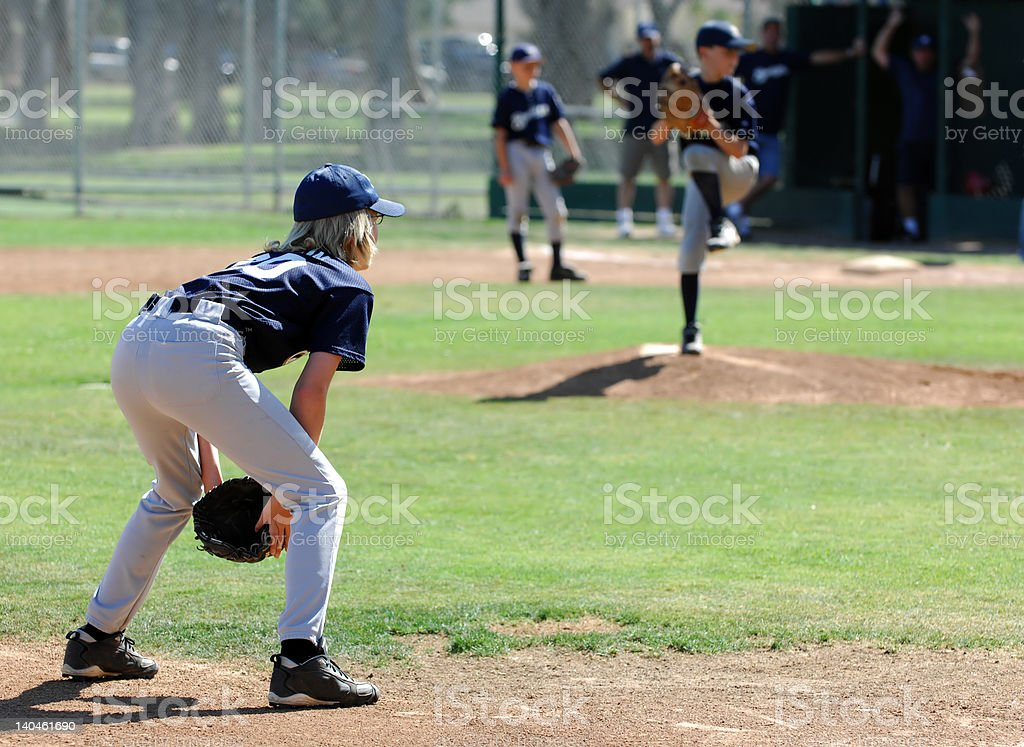 Third Baseman Ready For The Pitch stock photo