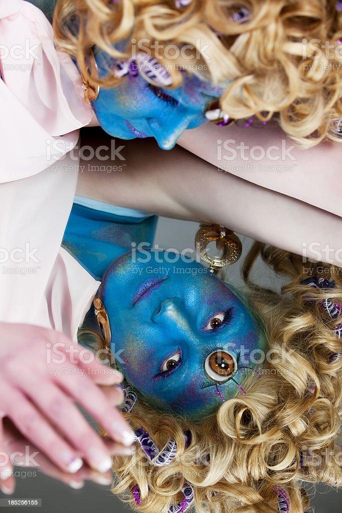Third eye: blue-faced mystical Hindu princess royalty-free stock photo