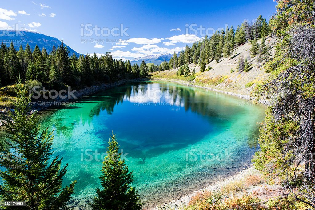 Third Lake, Valley of the five Lakes, Jasper National Park stock photo