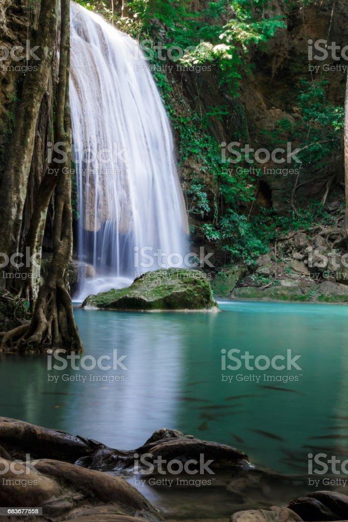 third level of Erawan Waterfall stock photo