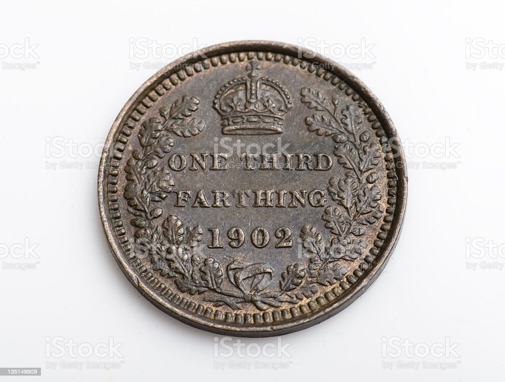Third of a farthing stock photo