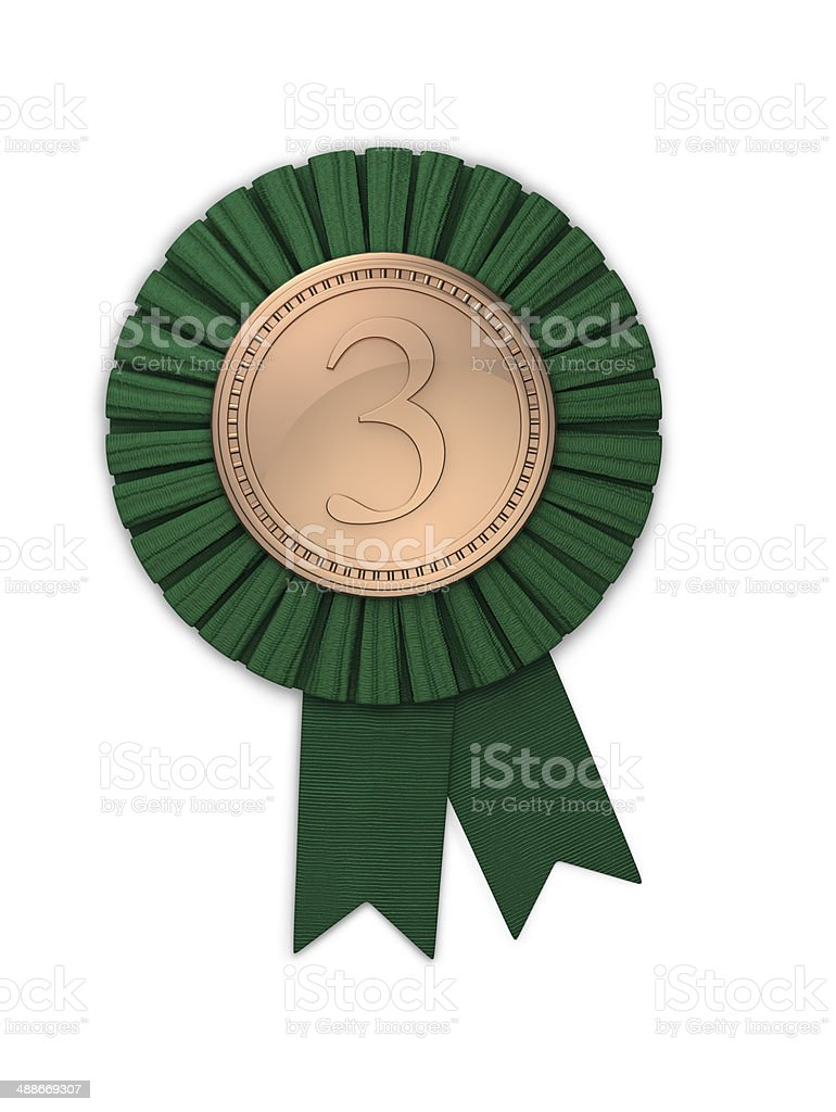 Third Place Bronze Medal with Green Ribbon royalty-free stock photo