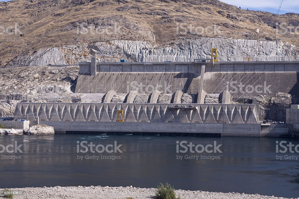 Third powerplant added in 1985, Grand Coulee Dam hydroelectric s stock photo