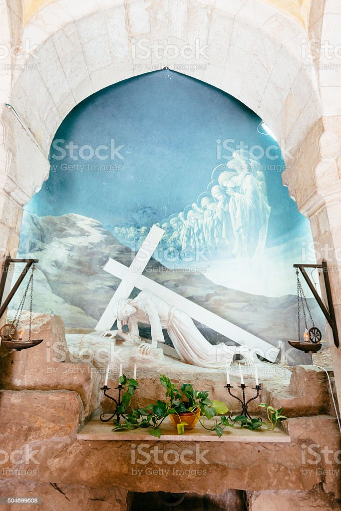 Third station in Via Dolorosa, Jesus falls, Jerusalem, Israel stock photo