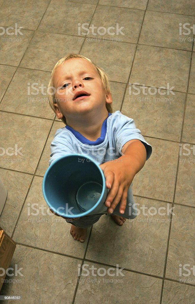 Thirsty Little Boy royalty-free stock photo